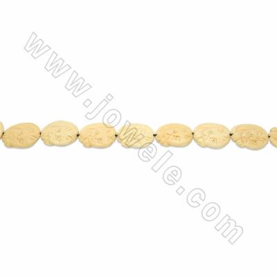 Handmade Carved Ox Bone Beads Strands, Lazy Cat, Yellow, Size 30x30mm, Hole 1.5mm, 14 beads/strand