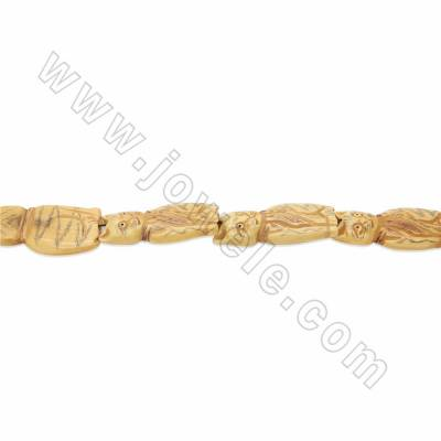 Handmade Carved Ox Bone Beads Strands, Lucky Cat, Yellow, Size 25x45mm, Hole 1.5mm, 10 beads/strand