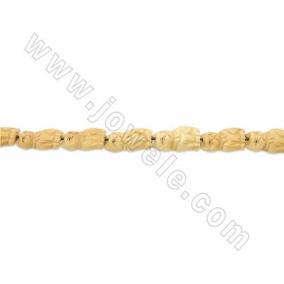 Handmade Carved Ox Bone Beads Strands, Lucky Cat, Yellow, Size 20x30mm, Hole 1.5mm, 14 beads/strand