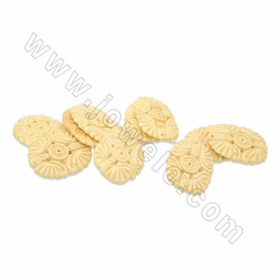 Handmade Carved Ox Bone Beads Strands, Double Bat, Yellow, Size 30x45mm, Hole 1.5mm, 10 beads/strand