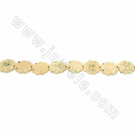 Handmade Carved Ox Bone Beads Strands, Frog, Yellow, Size 27x27mm, Hole 1.5mm, 13 beads/strand