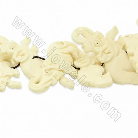 Handmade Carved Ox Bone Beads Strands, Elephant, White, Size 25x50mm, Hole 1.5mm, 15 beads/strand