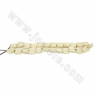 Handmade Carved Ox Bone Beads Strands, Elephant, White, Size 19x19mm, Hole 1mm, 25 beads/strand