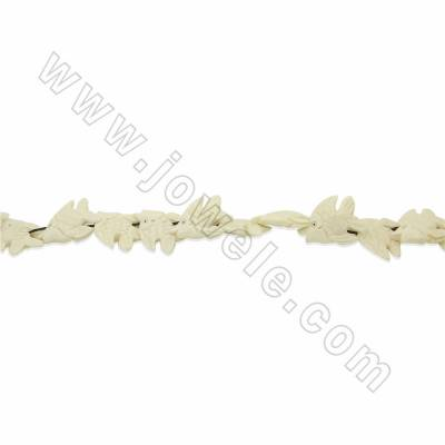 Handmade Carved Ox Bone Beads Strands, Fish, White, Size 20x30mm, Hole 1mm, 22 beads/strand