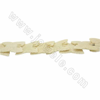 Handmade Carved Ox Bone Beads Strands, Butterfly, White, Size 35x50mm, Hole 1.5mm, 15 beads/strand