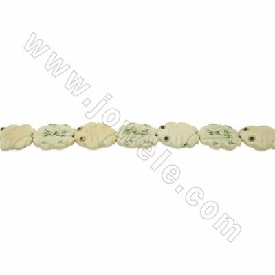 Handmade Carved Ox Bone Beads Strands, Frog, White, Size 35x35mm, Hole 1.5mm, 10 beads/strand