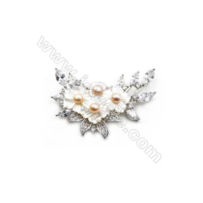 White Flower Mother-of-pearl Shell CZ Brooch x 1Piece  Sterling Silver Plated  Size 40x45mm