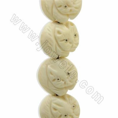 Handmade Carved Ox Bone Beads Strands, Cat, White, Size 16x16mm, Hole 1mm, 25 beads/strand