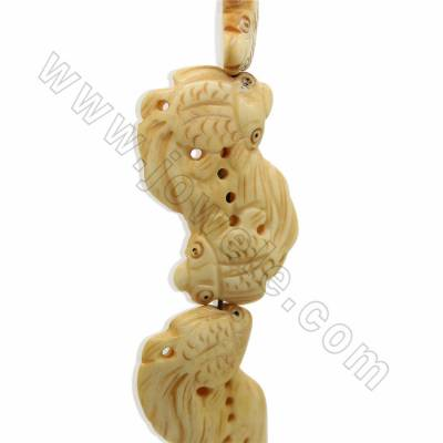 Handmade Carved Ox Bone Beads Strands, Double Fish, Yellow, Size 30x47mm, Hole 1.5mm, 8 beads /strand