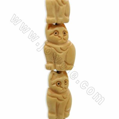 Handmade Carved Ox Bone Beads Strands, Lucky Cat, Yellow, Size 16x24mm, Hole 1.5mm, 18 beads/strand