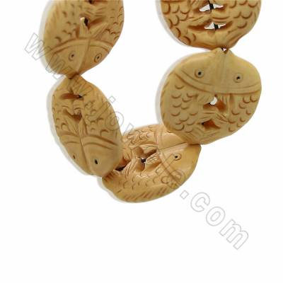 Handmade Carved Ox Bone Beads Strands, Double Fish, Yellow, Size 30x30mm, Hole 1.5mm, 14 beads/strand