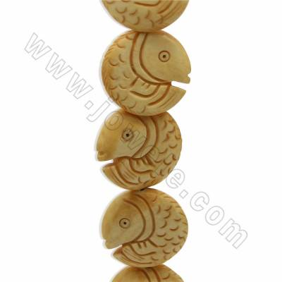 Handmade Carved Ox Bone Beads Strands, Fish, Yellow, Size 28x28mm, Hole 1.5mm, 10 beads/strand