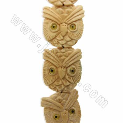 Handmade Carved Ox Bone Beads Strands, Hawk, Yellow, Size 38x40mm, Hole 1.5mm, 10 beads/strand