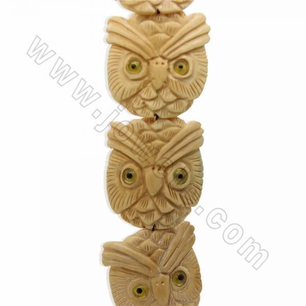 Handmade Carved Ox Bone Beads Strands, Hawk, Yellow, Size 38x40mm, Hole 1.5mm, 10 beads/strand