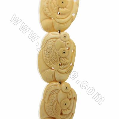 Handmade Carved Ox Bone Beads Strands, Fish, Yellow, Size 30x45mm, Hole 1mm, 10 beads/strand