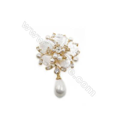 White Flower Mother-of-pearl Shell CZ Brooch x 1Piece  Gold Plated  Size 43x46mm