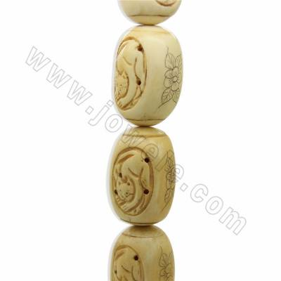 Handmade Carved Cat Pattern Ox Bone Beads Strands, Long drum beads, Yellow, Size 28x40mm, Hole 1.5mm, 10 beads/strand
