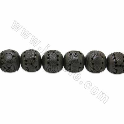 Handmade Carved Dragon Pattern Ox Bone Beads Strands, Dark Brown, Size 25x28mm, Hole 1.5mm, 10 beads/strand