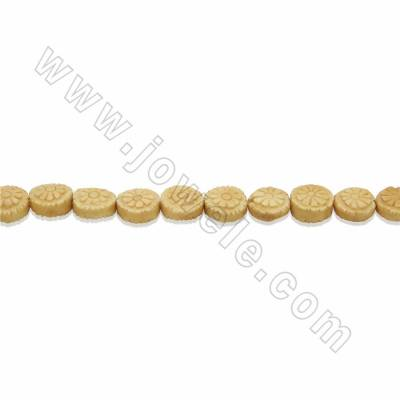 Handmade Carved Ox Bone Beads Strands, Flat Round with Flower Pattern, Yellow, Size 13x13mm, Hole 1mm, 28 beads/strand