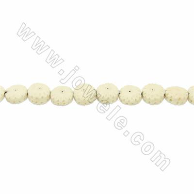 Handmade Carved Ox Bone Beads Strands, Flower, White, Size 13x13mm, Hole 1mm, 28 beads/strand