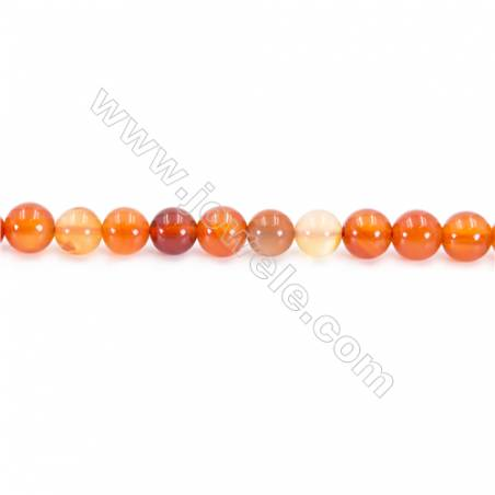 Natural Carnelian Beads Strand  Round  Diameter 8mm  hole 1mm  about 51 beads/strand 15~16""
