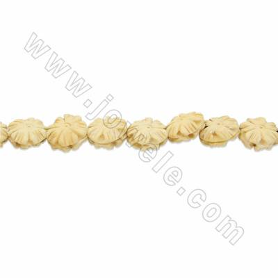 Handmade Carved Ox Bone Beads Strands, Flower, Yellow, Size 13x13mm, Hole 1mm, 28 beads/strand