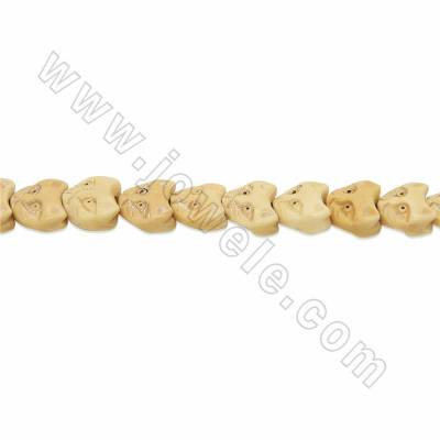 Handmade Carved Ox Bone Beads Strands, Fox, Yellow, Size 13x13mm, Hole 1mm, 28 beads/strand