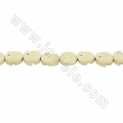 Handmade Carved Ox Bone Beads Strands, Fish, White, Size 13x13mm, Hole 1mm, 28 beads/strand