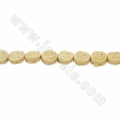 Handmade Carved Ox Bone Beads Strands, Animal, Yellow, Size 13x13mm, Hole 1mm, 28 beads/strand