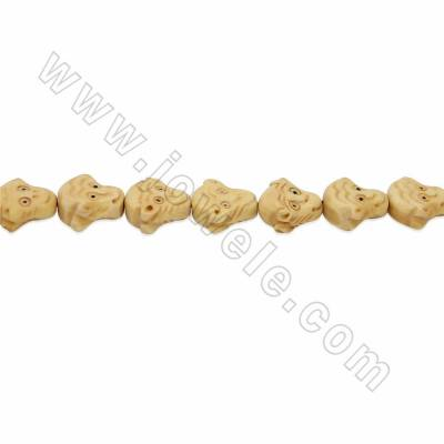 Handmade Carved Ox Bone Beads Strands, Monkey, Yellow, Size 11x13mm, Hole 1mm, 28 beads/strand