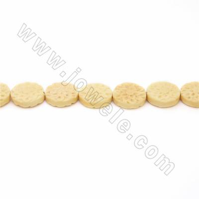 Handmade Carved Ox Bone Beads Strands, Flower, Yellow, Size 17x17mm, Hole 1.5mm, 25 beads/strand