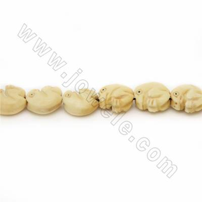 Handmade Carved Ox Bone Beads Strands, Frog, Yellow, Size 16.5x16.5mm, Hole 1mm, 25 beads/strand