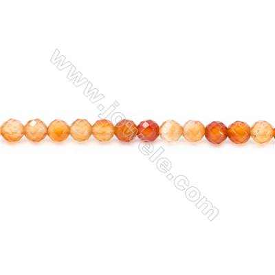 Natural Carnelian Beads Strand Faceted Round  Diameter 6mm  hole 1mm  about 65 beads/strand 15~16""