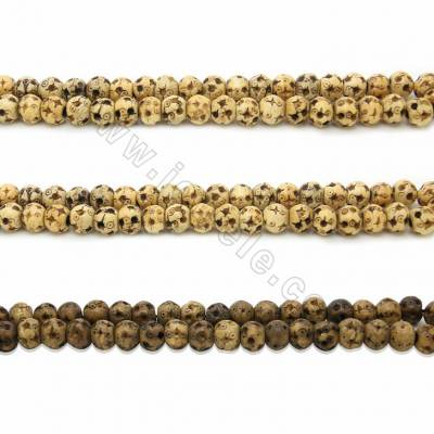 Handmade Carved Ox Bone Round Beads Strands, Dot Pattern, LightBrown, Size 10mm, Hole 2mm, 40beads/strand