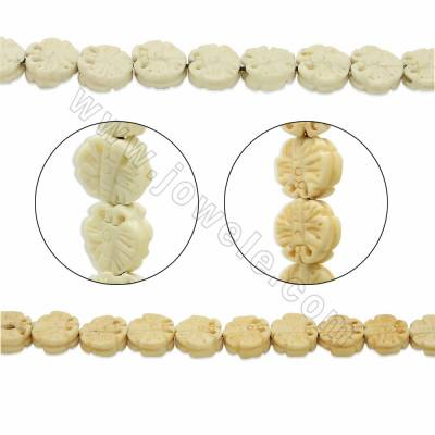 Handmade Carved Ox Bone Beads Strands, Butterfly, Yellow, Size 13x13mm, Hole 1mm, 28 beads/strand