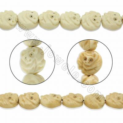 Handmade Carved Ox Bone Beads Strands, Monkey, Size 13x13mm, Hole 1mm, 28 beads/strand
