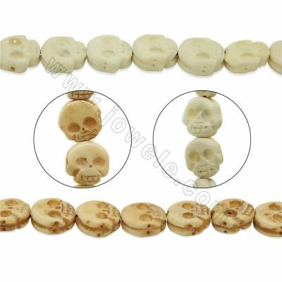 Handmade Carved Ox Bone Beads Strands, Skull, Size 13x13mm, Hole 1mm, 28 beads/strand