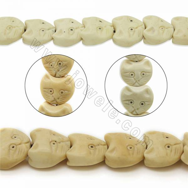 Handmade Carved Ox Bone Beads Strands, Lovely Cat, Size 15x17mm, Hole 1.5mm, 25 beads/strand