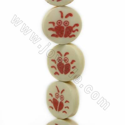 Handmade Carved Crab Pattern Ox Bone Beads Strands, Flat Round, Light Yellow, Size 16.5x16.5mm, Hole 1mm, 25 beads/strand
