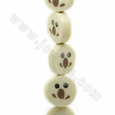 Handmade Carved Frog Pattern Ox Bone Beads Strands, Flat Round, Light Yellow, Size 16.5x16.5mm, Hole 1mm, 25 beads/strand