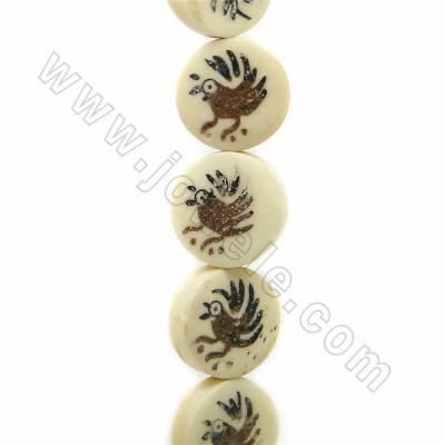 Handmade Carved Fowl Pattern Ox Bone Beads Strands, Flat Round, Light Yellow, Size 16.5x16.5mm, Hole 1mm, 25 beads/strand