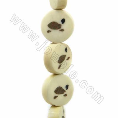 Handmade Carved Turtle Pattern Ox Bone Beads Strands, Flat Round, Light Yellow, Size 16.5x16.5mm, Hole 1mm, 25 beads/strand