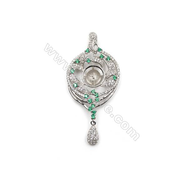 Sterling silver platinum plated zircon pendant, 25x44mm, x 5pcs, tray 11mm, needle 0.8mm