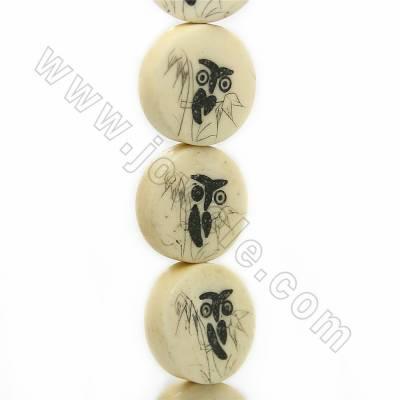 Handmade Carved Owl Pattern Ox Bone Beads Strands, Flat Round, Light Yellow, Size 16.5x16.5mm, Hole 1mm, 25 beads/strand