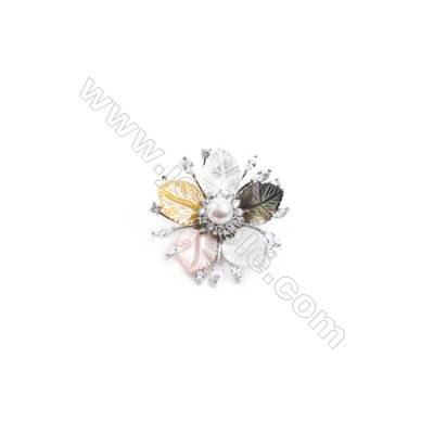 Mix Color Flower Mother-of-pearl Shell CZ Brooch x 1Piece  Sterling Silver Plated  Size 40x40mm