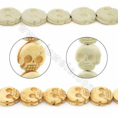 Handmade Carved Ox Bone Beads Strands, Skull, Size 17x17mm, Hole 0.9mm, 25 beads/strand
