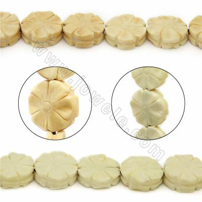 Handmade Carved Ox Bone Beads Strands, Flower, Size 16.5x16.5mm, Hole 1mm, 25 beads/strand
