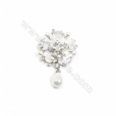 White Flower Mother-of-pearl Shell CZ Brooch x 1Piece  Sterling Silver Plated  Size 44x45mm