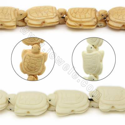 Handmade Carved Ox Bone Beads Strands, Tortoise, Size 25x30mm, Hole 1mm, 12 beads/strand