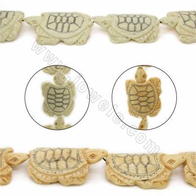 Handmade Carved Ox Bone Beads Strands, Tortoise, Size 54x60x8mm, Hole 1mm, 7 beads/strand